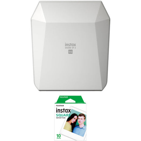 Fujifilm Instax SHARE SP-3 Smartphone Printer (White) + Fujifilm Instax Square Color Plain Film (10 Shots) – Single Pack