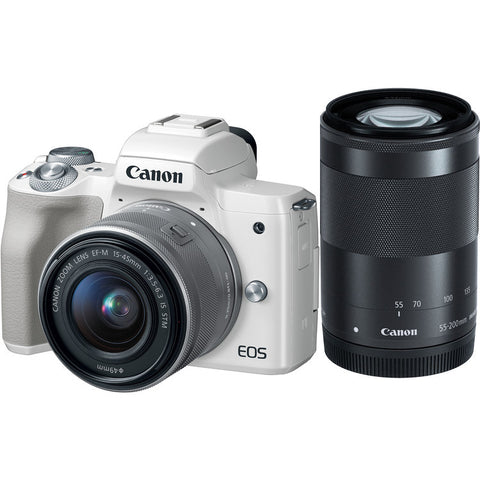 (MERDEKA SALE) Canon EOS-M50 Mirrorless Digital Camera + EF-M 15-45mm f/3.5-6.3 IS STM + EF-M 55-200 f/4-5.6 IS STM (White) [FREE 32GB SD Card & Camera Bag]] – Online Redemption Free Battery