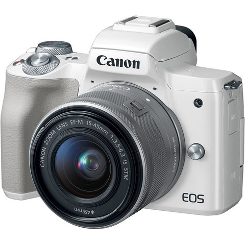 (Special Deal) Canon EOS-M50 Mirrorless Digital Camera + EF-M 15-45mm f/3.5-6.3 IS STM (White) [FREE 32GB SD Card & Camera Bag] (Online Redemption RM150 Cashback & FREE LP-E12 Battery + CP1300 Printer)