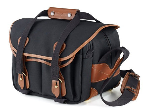 Billingham 225 Shoulder Bag (Black With Tan Leather Trim)