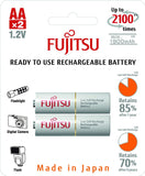 Fujitsu Ni-MH Rechargeable 1900mAh AA Battery Blister Pack (2 Batteries)