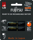 Fujitsu Ni-MH Rechargeable 2450mAh AA Battery Blister Pack (2 Batteries)