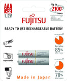 Fujitsu Ni-MH Rechargeable 750mAh AAA Battery Blister Pack (2 Batteries)