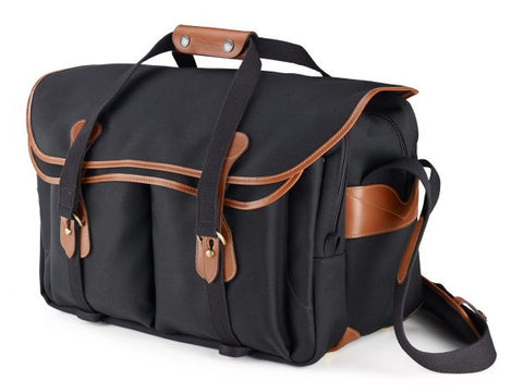 Billingham 555 Shoulder Bag (Black With Tan Leather Trim)