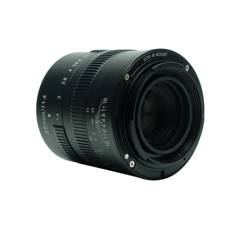 7artisans 55mm F1.4 (Black – For Canon M-Mount)