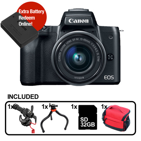 [Youtuber Starter Sale] Canon EOS-M50+ EF-M 15-45mm f/3.5-6.3 IS STM – Black (FREE Rode VideoMicro + Flexible Mini Tripod + 32GB SD Card + Camera Bag & Extra Battery Online Redeem]