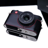 Gariz Leica X1 And X2 Leather Camera Half Case (Black + Red Stitching)