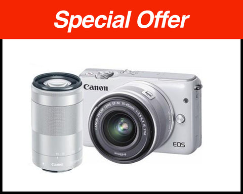 Clearance – Canon EOS-M10 + EF-M 15-45mm f/3.5-6.3 IS STM Lens + EF-M 55-200mm f/4-5.6 IS STM Lens (White)