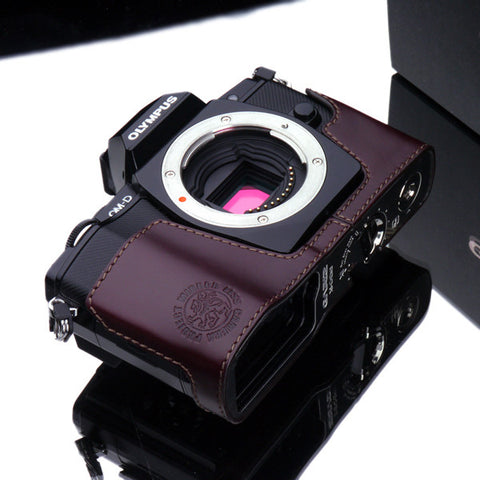 Gariz Olympus OM-D E-M5 Leather Camera Half Case (Wine)
