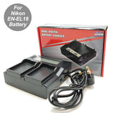DBK LCD Dual Battery Charger for EN-EL18 Battery