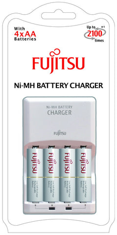 Fujitsu 8HRS Standard Charger + 4X 1900mAh AA Rechargeable Batteries