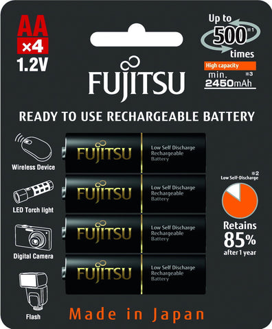 Fujitsu Ni-MH Rechargeable 2450mAh AA Battery Blister Pack (4 Batteries)