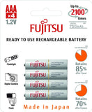 Fujitsu Ni-MH Rechargeable 750mAh AAA Battery Blister Pack (4 Batteries)