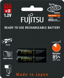Fujitsu Ni-MH Rechargeable 900mAh AAA Battery Blister Pack (2 Batteries)