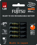 Fujitsu Ni-MH Rechargeable 900mAh AAA Battery Blister Pack (4 Batteries)