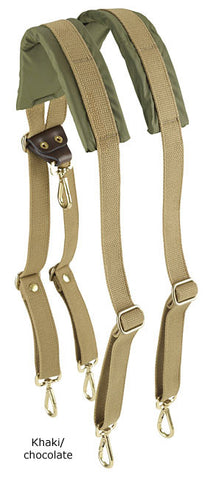 Billingham Backpack Harness (Khaki Webbing with Chocolate Trim)