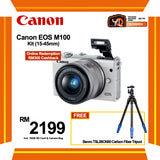 (SALE) Canon EOS-M100 + EF-M 15-45mm f/3.5-6.3 IS STM (White) [FREE BENRO TSL08CN00 Carbon Fiber Tripod & 16GB Card & Camera Bag] (Online Redemption RM400 Cashback]