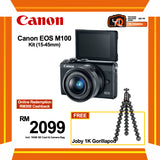 (SALE) Canon EOS-M100 + EF-M 15-45mm f/3.5-6.3 IS STM (Black) [FREE Joby 1K Gorillapod & 16GB Card & Camera Bag] (Online Redemption RM400 Cashback]
