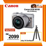 (SALE) Canon EOS-M100 + EF-M 15-45mm f/3.5-6.3 IS STM (Grey) [FREE Joby 1k Gorillapod & 16GB Card & Camera Bag] (Online Redemption RM400 Cashback]