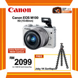 (SALE) Canon EOS-M100 + EF-M 15-45mm f/3.5-6.3 IS STM (White) [FREE Joby 1K Gorillapod & 16GB Card & Camera Bag] (Online Redemption RM400 Cashback]