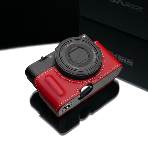 Gariz Sony DSC-RX100 II Leather Camera Half Case (Red with Grip)