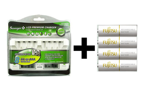 (SALE) Samya Tech M-800L AA/AAA LCD Battery Charger + 4X Fujitsu 1900mAh AA Rechargeable Batteries