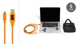TetherTools Starter Tethering Kit W/ USB 2.0 Micro-B 5-Pin Cable (15ft/4.6m) [Orange] – BTK30ORG