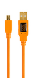 TetherTools Starter Tethering Kit W/ USB 2.0 Mini-B 5-Pin Cable (15ft/4.6m) [Orange] – BTK51