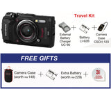 (Y.E.S) Olympus Stylus TOUGH TG-5 Digital Compact Camera (Black – Travel Kit) (Online Redemption Camera Case + Extra Battery + Extended Warranty)