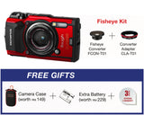 (Y.E.S) Olympus Stylus TOUGH TG-5 Digital Compact Camera (Red – Fisheye Kit) (Online Redemption Camera Case + Extra Battery + Extended Warranty)