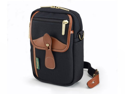 Billingham Stowaway Airline Shoulder Bag (Black with Tan Leather Trim)