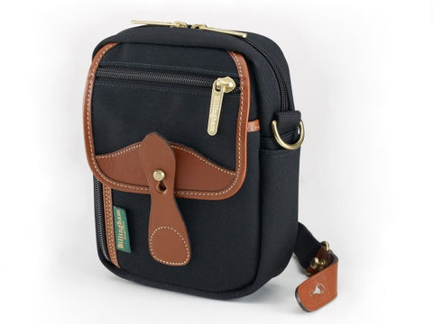 Billingham Stowaway Compact Shoulder Bag (Black with Tan Leather Trim)