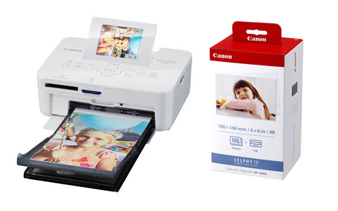 Clearance – Canon CP-820 Selphy Photo Printer (White) + Canon KP108IN Color & Paper Set