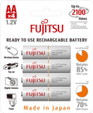 Fujitsu Ni-MH Rechargeable 1900mAh AA Battery Blister Pack (4 Batteries)