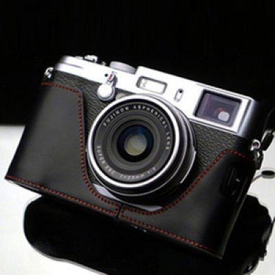 Gariz Fujifilm X100/X100S Leather Camera Half Case (Black + Red Stitching)