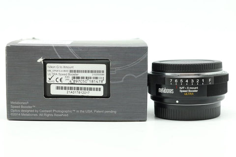 USED-Metabones Nikon To FUJIFILM X-Mount ULTRA Speed Booster, 95% LIKE NEW,s/n 21A017812017,YL PUDU