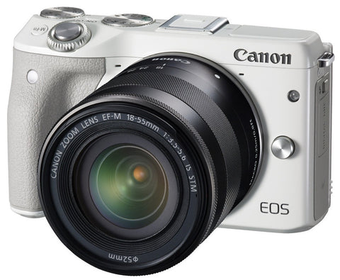 Clearance – Canon EOS-M3 + EF-M 18-55mm f/3.5-5.6 IS STM Lens (White)