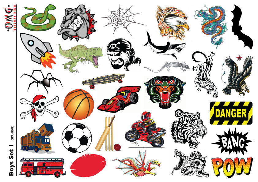 Temporary Tattoos OMG Little'ns- For Boys 1