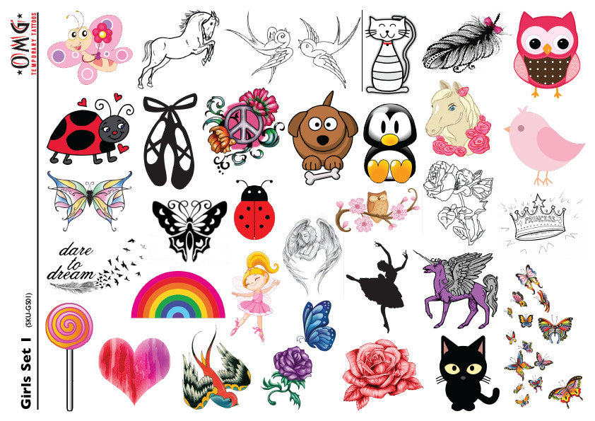 Temporary Tattoos OMG Little'ns- For Girls 1
