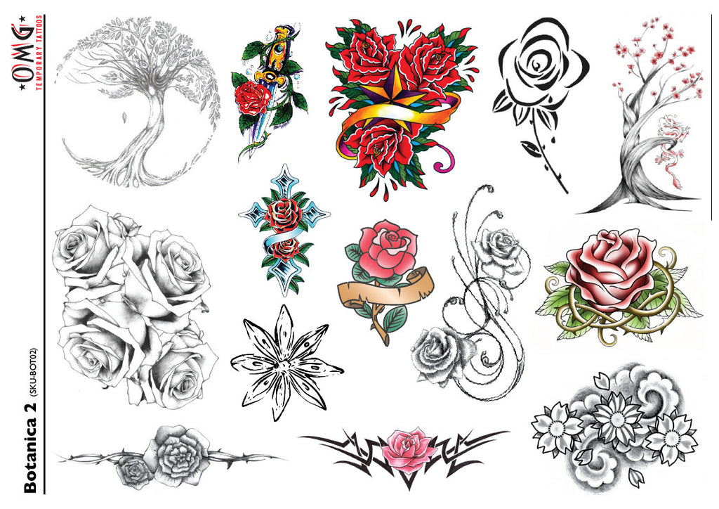 Temporary Tattoos Fake stier stick-on Botanica flowers 2