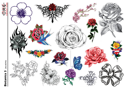 Temporary Tattoos OMG Botanica - Flowers 3
