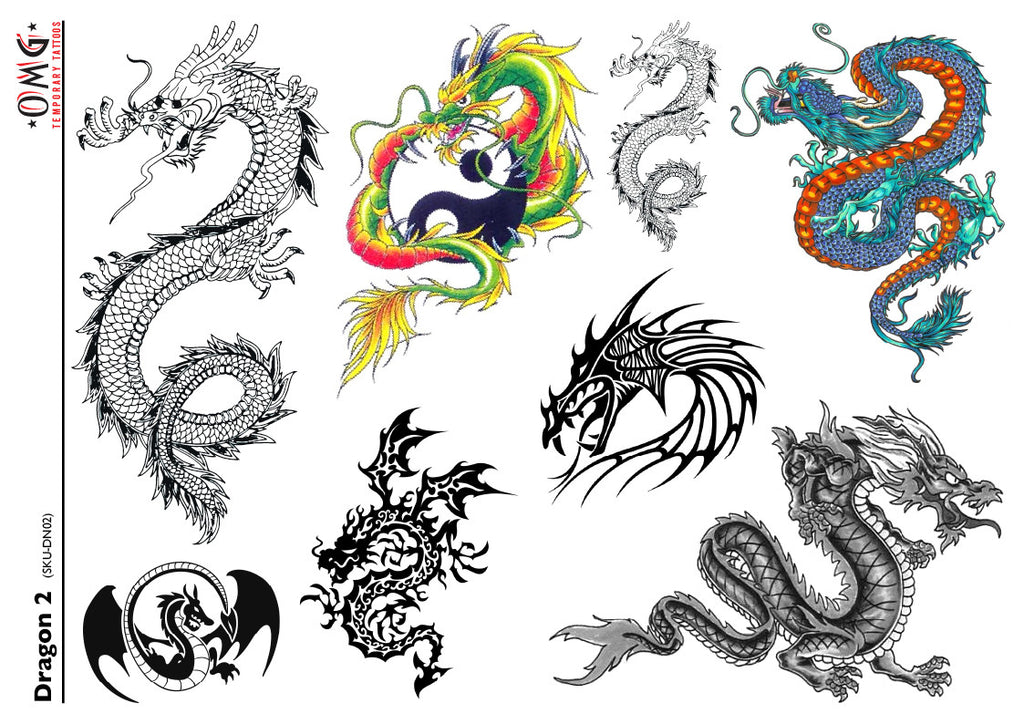 Temporary Tattoos OMG Dragon 2