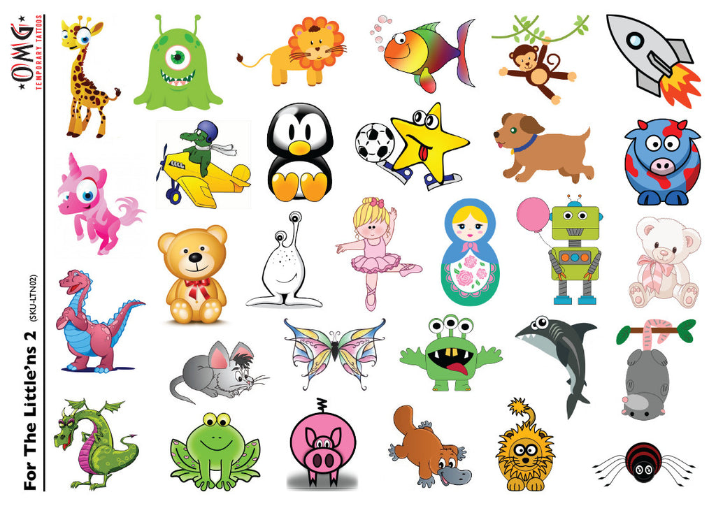 Temporary Tattoos Fake Stick on sticker Little'ns for Kids2