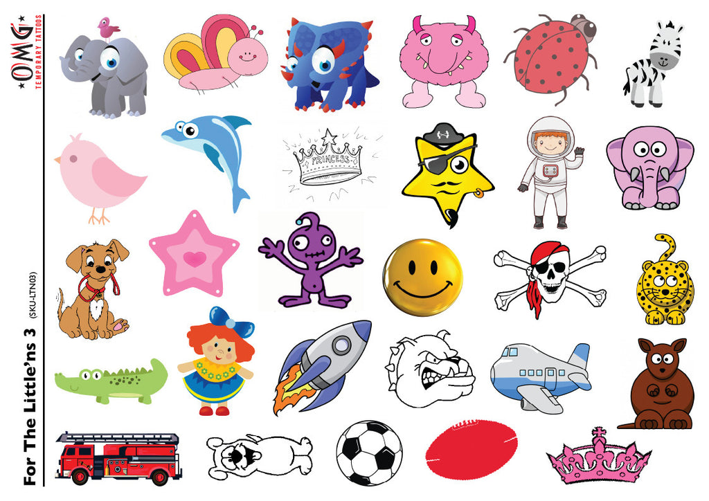 Temporary Tattoos Fake Stick on sticker Little'ns for Kids 3
