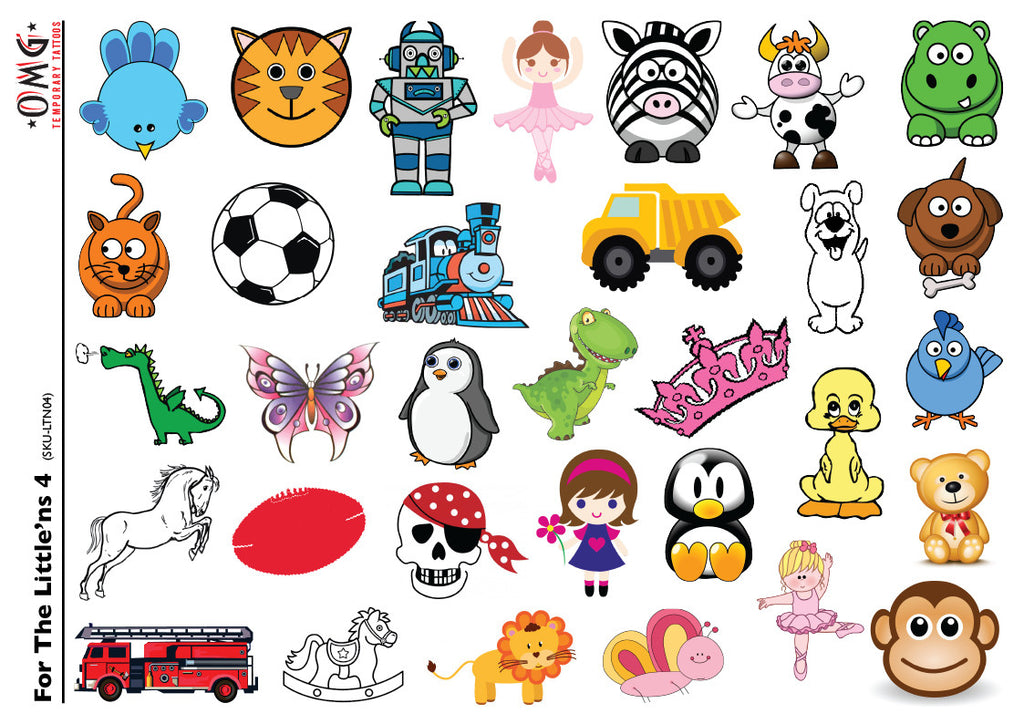 Temporary Tattoos Fake Stick on sticker Little'ns for Kids 4