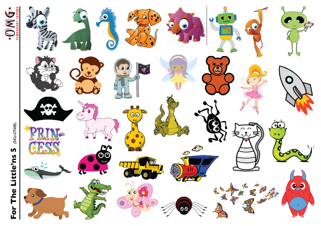 Temporary tattoos omg little 39 ns for kids 5 omg for Temporary tattoos kids