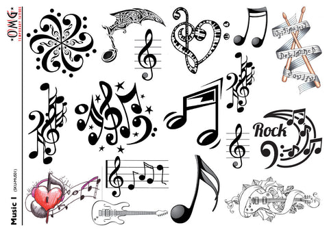 Temporary Tattoos OMG Music 1