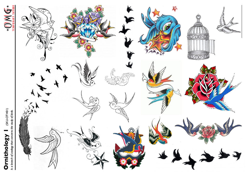 Temporary Tattoos Fake Sticker Birds Ornithology 1