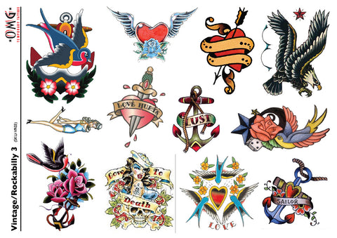 Temporary Tattoos OMG Vintage and Rockabilly 3