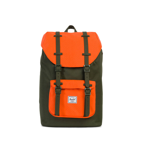 Herschel Little America Mid-Volume Forest Night Vermillion Orange Forest Night Rubber